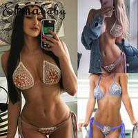 Bayan Kristal Bikini Set Bandaj Şınav Mayo Mayo Yüzme Brezilyalı