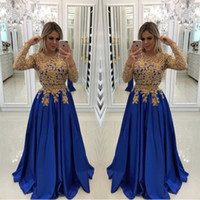 Sexy Royal Blue With Gold Lace Beads Evening Dresses Caftan ...