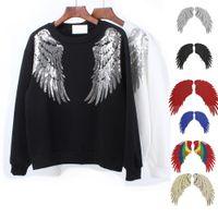 Patch de paetês ouro novo DIY asas de anjo ferro em patches para a roupa Sew em bordados Remendo Applique Adesivos 7 Cores Top Quality