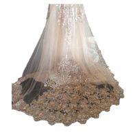 Bling Bling Velos de novia Champagne Apliques de encaje con peine nupcial para niñas catedral de lujo de largo longitud de la capilla con cuentas