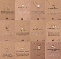 Dogeared Halskette mit Geschenk-Karte Elefant Perlen-Liebes-Flügel-Kreuz-Schlüssel Sternzeichen Kompass Lotus-Anhänger für Frauen Fashion Jewelry GB1639