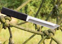 Nouveau Katana Couteau D2 Tanto Point Satin Blade Ebony Poignée Fixe Lames avec gaine en bois Couteaux cadeaux