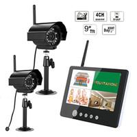 """SY903E12 2.4 ГГц цифровой ночного видения 2 беспроводные камеры с 9 """" ЖК-монитор DVR комплект Главная CCTV системы безопасности (ЕС штекер) - черный"""