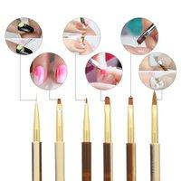 Ongles Gel UV 10pcs acrylique Brosses Kit pour faux ongles Conseils Builder Art Design Peinture Liner Pen manucure Pen outil