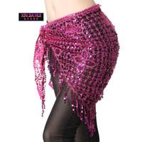 Stage Wear Bellydance Costume Belly Dance Sciarpa Hip Stretchy Trial Triangolo Triangolo Triangolo Paillettes Cintura da Ballare Ballanti Accessori 10 colori