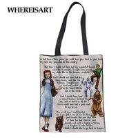 WHEREISART THE WIZARD OF OZ TOTE BAG Borsa da donna in tela Shopping Girl Lady Beach Pacchetto da viaggio Custodia Portatile pieghevole Dropship