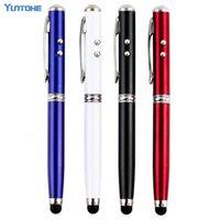 100pcs / lot gros Durable 4 en 1 pointeur laser torche LED écran tactile stylet portable stylo à bille pour le portable