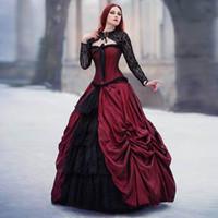 Increíble vestido de bola gótico rojo y negro Vestidos de novia Vampire medieval Vestido de novia Encaje Up Bodas Robe de Mariee