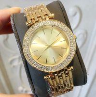 패션 여성 패션 여성 시계 전체 다이아몬드 옐로우 골드 / 로즈 골드 / 실버 / 다시 컬러 라인 석 스틸 팔찌 체인 레이디 손목 시계