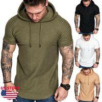 Мода мужская Slim Fit Solid Hoodie с коротким рукавом O-образным вырезом повседневная футболка фитнес-шаблон большой плюс размер M-3XL уличная одежда топ