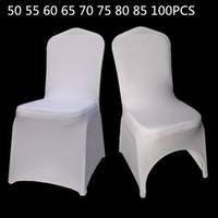 50 55 60 65 75 80 85 100 قطع الأبيض العالمي تمتد البوليستر حفل زفاف دنة يغطي كرسي