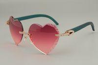 Gafas de sol de lentes de grabado en forma de corazón de alta calidad más vendidas, gafas de sol de madera azul / color azul de diamante 8300686-A Tamaño: 58-18-135mm