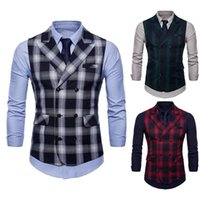 HEFLASHOR affaires Plaid Vest Hommes Casual double boutonnage Costume manches Gilet Automne Retro Slim Homme Plus Size Waistcoat