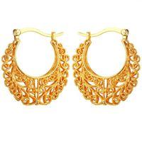 Mais novo na moda area 18k real banhado a ouro Cobre Brincos de aro vintage para mulheres moda jóias basquetebol esposas brincos E360