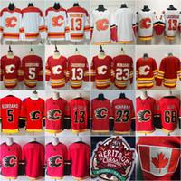 2020 nuevo rojo Calgary Flames 13 Johnny Gaudreau Jersey 23 Sean Monahan Jaromir Jagr 5 Mark Giordano Hocekey jerseys Hombre Mujer Niños Jóvenes