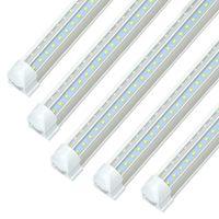 8ft LED SHOP Light Fixture 72W 7200LM، 5000K الأبيض، الصف مزدوج الشكل الخامس الشكل، T8 أنبوب أنبوب متكامل شريط برودة، واضح، قابلة للربط 25P