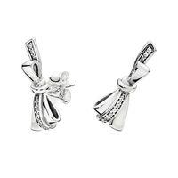 925 الفضة الاسترليني bowknot أقراط المربع الأصلي ل باندورا الرائعة القوس المرأة الفاخرة مصمم القرط مجموعات