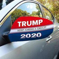Одна пара президент США Trump Выборы автомобиля Зеркало Обложка Упругие Ткань крышки Украшение автомобиля Инструмент автомобиля зеркало заднего вида Защитная крышка ткани