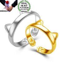 Omhxzj grossist personlighet mode ol kvinna flicka fest bröllop gåva guld vit söt katt 18kt gul guld vit guldring rn37