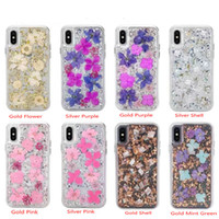 Glitter real seco Caso Flor para iPhone Xs Max XR X 8 8 Plus 7 6 6s Samsung Galaxy S9 + Defender Hard Case Voltar Mobile Phone Capa Shell