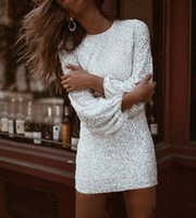 Bling Short Mini Sequined Cocktail Homecoming Dresses Jewel Neck Zipper Back Cheap Party Gowns Long Sleeves Cheap Prom Dresses
