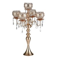 63 cm Tall 5-arms Metal Gold Candelabras with Pendants Romantic Wedding Table Candle Holder Home Party Decoration