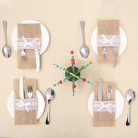 10 قطع ريفي الزفاف الديكور الخيش الدانتيل أدوات المائدة جيب عيد الميلاد diy التعشيب ديكور لحضور حفل زفاف ديكور