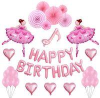 Принцесса девушка с днем рождения набор воздушных шаров Helium сердца буквы воздушный шар комплект алюминиевая фольга баллонов рождения