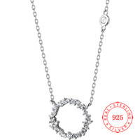 Hot Selling 925 Sterling Silver Circle Pendant Necklace CZ W...