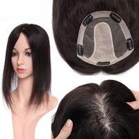 Human Hair Topper für Frauen Seidenbasis mit 5 Clips in der Haartoupee menschliches Haar-Stück schwarze Farbe