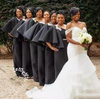 2019 جديد الأفريقي النيجيري الأسود غمد العروسة اللباس واحد الكتف الرباط زين فساتين رسمية الزوار الفستان الزفاف الجلباب دي demoisel