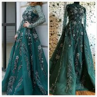 Hunter Green Luxurious 2019 Arabic Evening Dresses Sheer Nec...