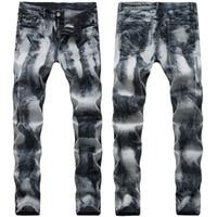 21 Styles Herren Jeans Falten Motorradhose gerade dünner Sitz Europa und Amerika zerrissenes Loch Gewaschene Mode Hosen Bleistift-Hosen-Straße