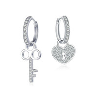 S925 Real Silver Ear Stud Lock and Key Sterling Silver Earri...