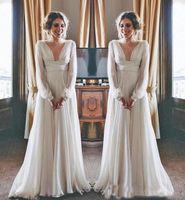 2019 La migliore vendita Boho abito da sposa manica lunga modesto scollo a V in chiffon impero donne maternità abiti da sposa in stile greco