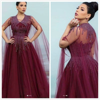 Burgundy Beaded 2019 Arabic Evening Dresses Sheer Neck A- lin...