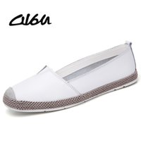 O16U Genuine Leather Shoes Women Ballet Flats Loafers Summer...