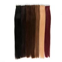Doble dibujado marrón oscuro #2 cinta en la extensión del pelo humano trama de la piel brasileña seda pelo recto 40 unids/set 100% cabello humano