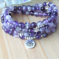 MG0674 A Grade Dream Amethyst Kvinnor 108 Mala Armband 4 Wrap Lila Crystal Energy Beads Armband Natural Gemstone Lotus Charm Armband