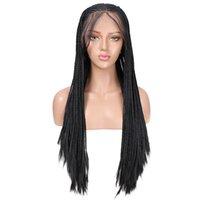 Longas tranças tranças tranças sintéticas rendas dianteiras de peruca resistente ao calor de fibra de cabelo preto perucas de renda para mulheres com cabelo bebê