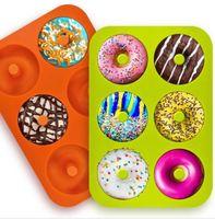 خبز القالب 6 تجويف دونات غير عصا قالب خبز قالب قالب قالب قالب قالب كعكة كعكة السيليكون Bakeware Dhl مجانا LXL1146-1