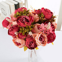 13 flores Rama / ramo de flores artificial del Peony Vivid Artificiales falso seda novia de la boda Rose corona de la decoración de la glándula casa