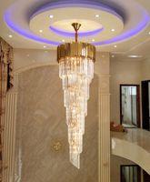 Lujoso Moderno Largo Gold Cristal Light Chandelier Colgante Colgante Iluminación para accesorios de escalera Grandes pasillo Pasillo interior Stair Villas LED Lámpara Cristal