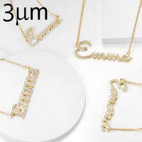 Kolye kolye 3umeter kristal kolye kadınlar için taş zincir zirkonya isimleri ile kişiselleştirilmiş ilk harfler