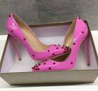 der Größe 33 zu 42 bis 46 rosa Nieten Spikes rote untere Schuhe Fersen Luxus Frauen hohe Absätze Herkunft Paket desiger