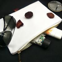 12 Обеспечение пробел для холста Poly Bag Makeup Сублимация для мешка белый 7x10in Zip 12oz Canvas с металлической косметической печати теплопередача DWOK