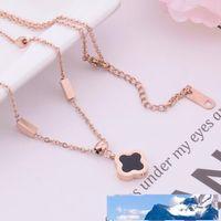 Luxus-Schmuck-Designer-Halskette für Frauen Titan-Stahlklee-Anhänger-Halskette heiße Mode frei von Versand