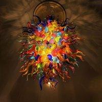 램프 컬러 꽃 샹들리에 무라노 실내 조명 큰 샹들리에 LED 조명 손으로 날아간 유리 아트 펜던트 빛