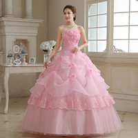 Women High Quality Pink Red White Wedding Dresses With Flowe...
