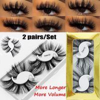 Livraison gratuite ePacket 2 paires long et épais 25MM Lashes 5D Mink cheveux Faux cils dramatique Wispy Fluffy pleine bande Lashes Handmad 666